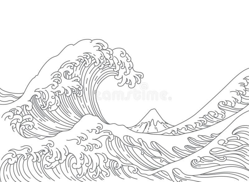 Japonia falowego wektoru wielka ilustracja ilustracji