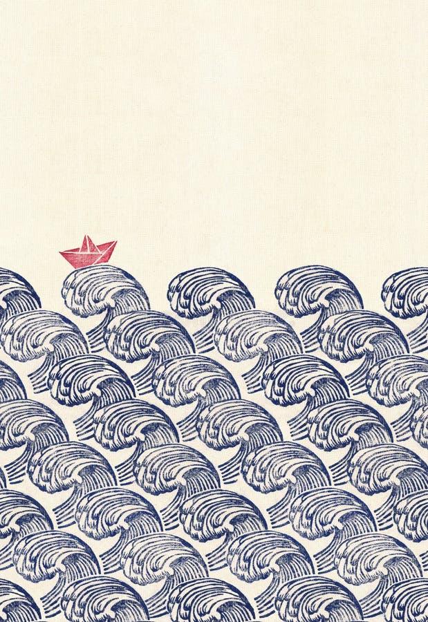 Japonia falowy i statku origami wzór obraz stock