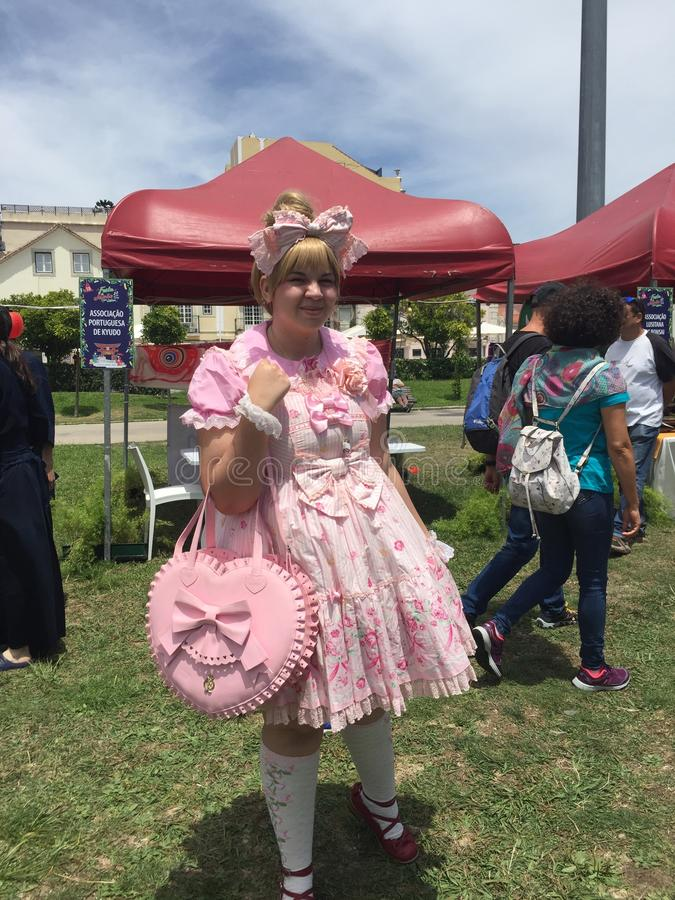 Japonia festiwal w Lisbon 22nd Czerwiec, Cosplay dziewczyny - zdjęcia royalty free