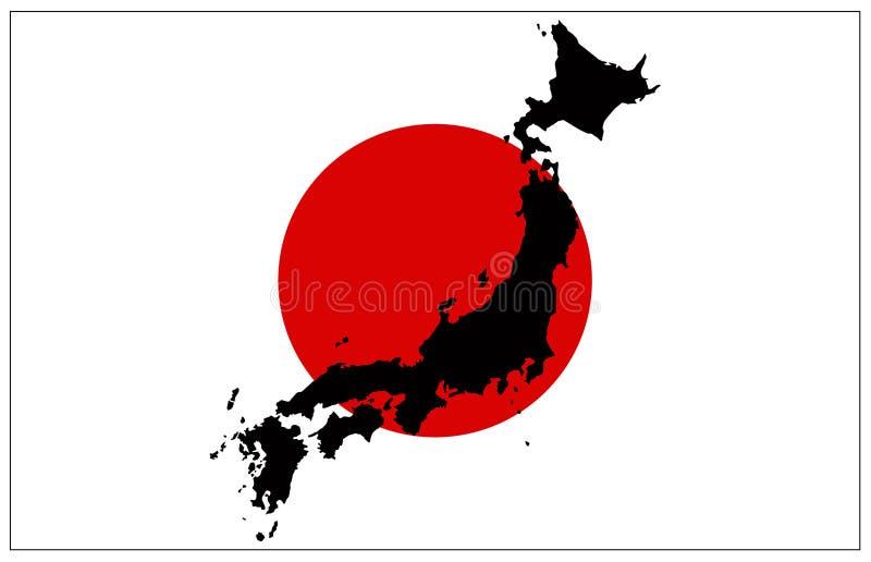Japonia flaga i mapa - wyspa kraj w Azja Wschodnia royalty ilustracja