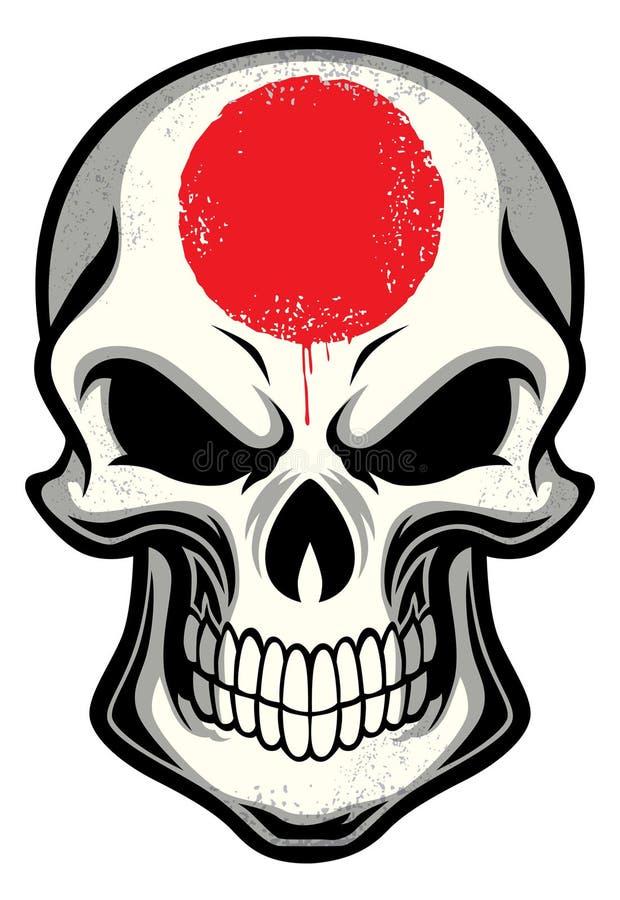 Japonia flaga malująca na czaszce royalty ilustracja