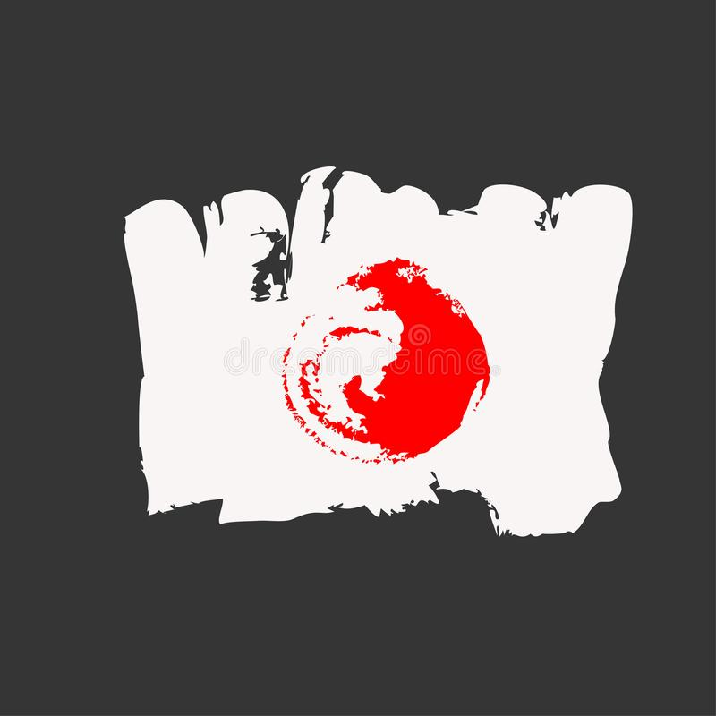 Japonia flaga malująca szczotkarskimi ręk farbami Sztuki flaga Akwarela Japonia fotografia royalty free