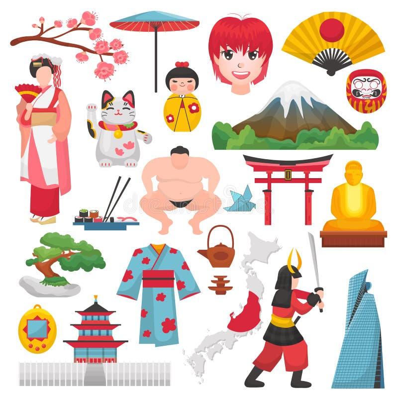 Japonia gejsza w kimonie z okwitnięciem Sakura w Tokyo ilustracyjnym ustawiającym Japanization symbole i royalty ilustracja