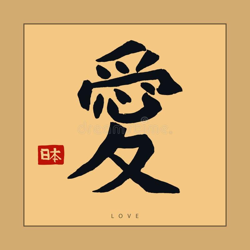 Japonia hieroglif, ręka rysująca Japońska kaligrafia wektor ilustracji