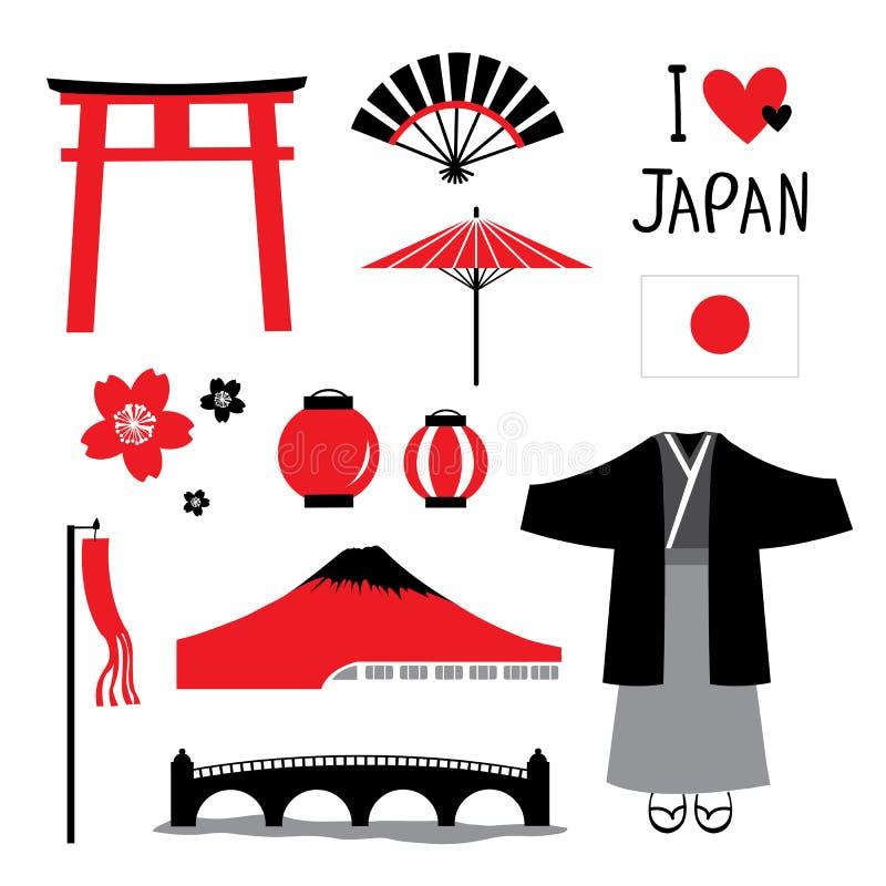 Japonia ikon projekta Płaskiej podróży czerni i rewolucjonistki kolekcji Ustalony wektor ilustracja wektor