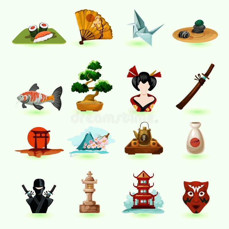 Japonia ikony ustawiać ilustracji