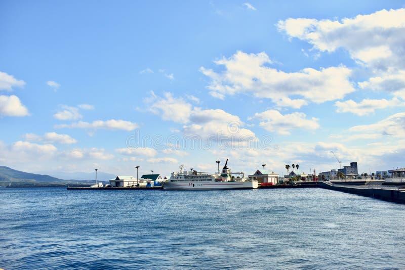 Japonia Kagoshima Sakurajima wyspy Naturalny port zdjęcie stock