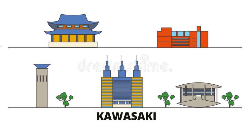 Japonia, Kawasaki punktów zwrotnych wektoru płaska ilustracja Japonia, Kawasaki kreskowy miasto z sławnymi podróż widokami, linia ilustracja wektor