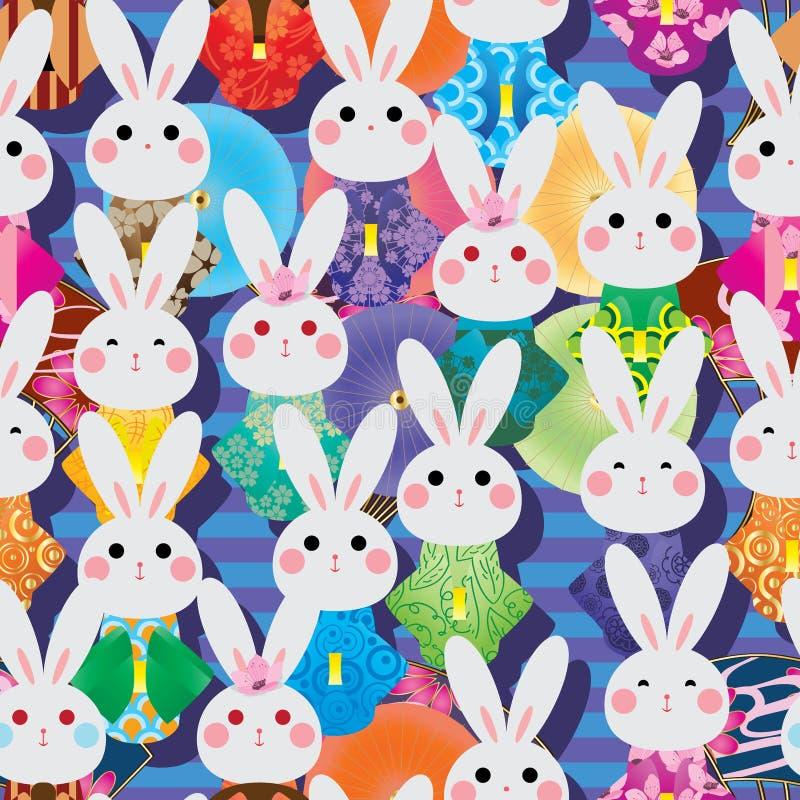 Japonia królika kimono wiele fan parasolowego lampasa bezszwowy wzór royalty ilustracja