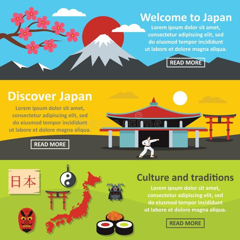 Japonia kształtuje teren sztandaru horyzontalnego set, mieszkanie styl royalty ilustracja