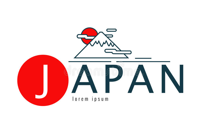 Japonia logo Scena Fuji góra ilustracja wektor