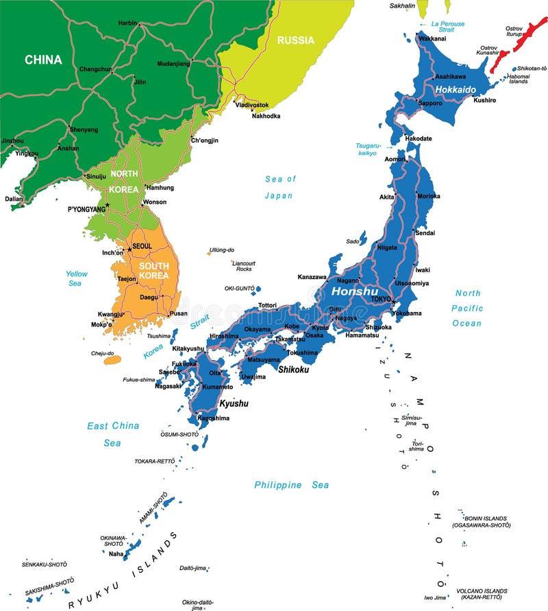 Japonia mapa ilustracja wektor