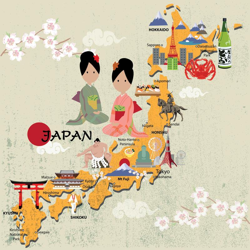 Japonia mapy eps 10 format royalty ilustracja