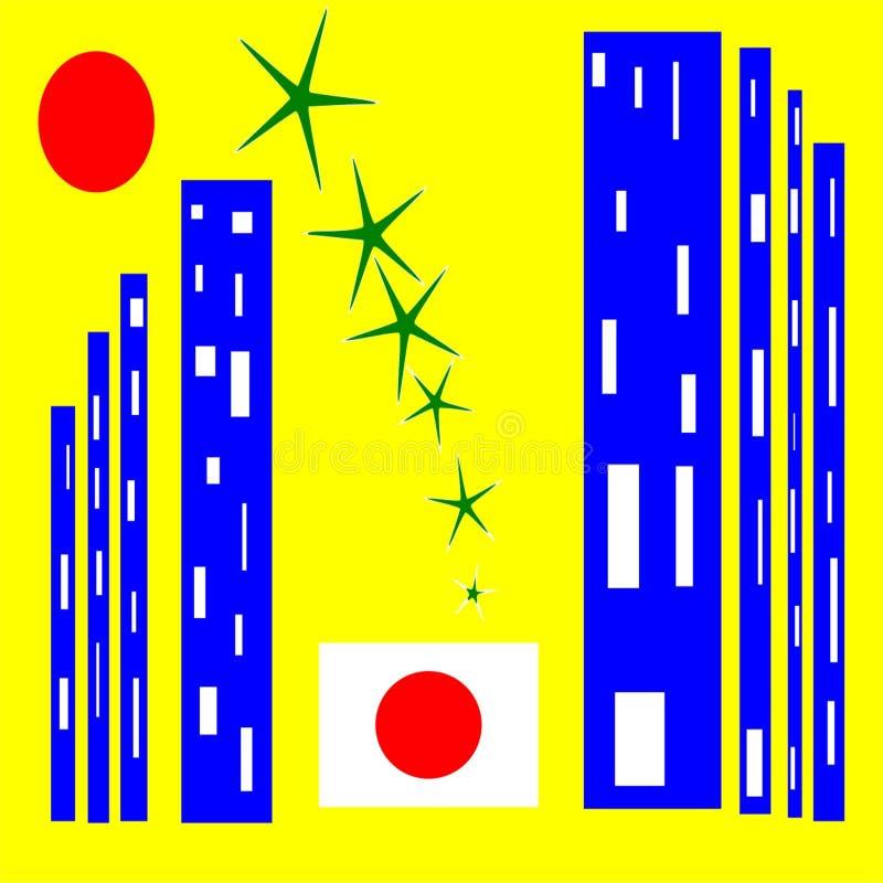 Japonia Miasto kontrasty i technologia royalty ilustracja