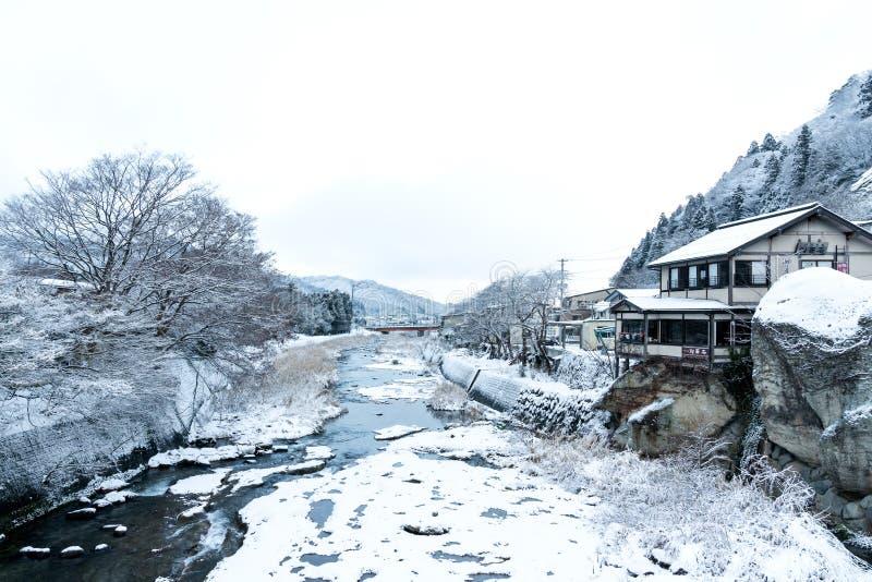 Japonia niewidziany krajobrazowy sceniczny widok od yamadera mostu kanału, yamadera świątyni świątynia, Yamagata prefektura, toho zdjęcia stock