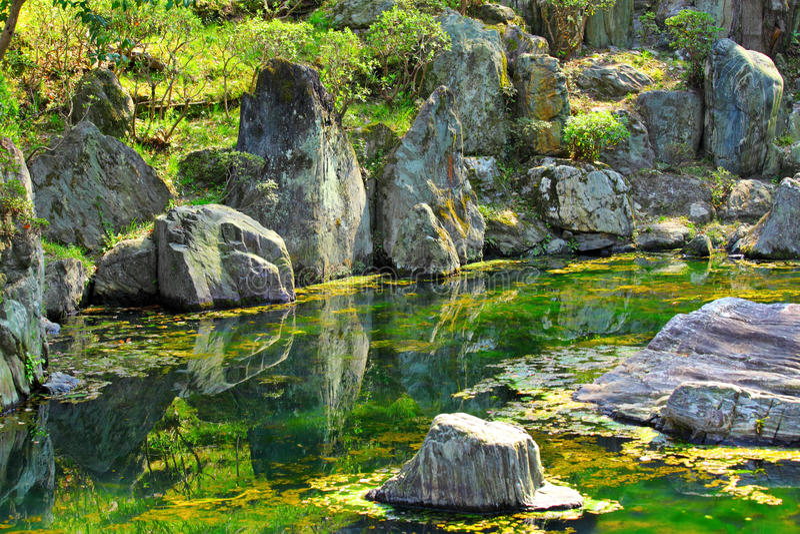 Japonia ogród z jeziorem obraz royalty free