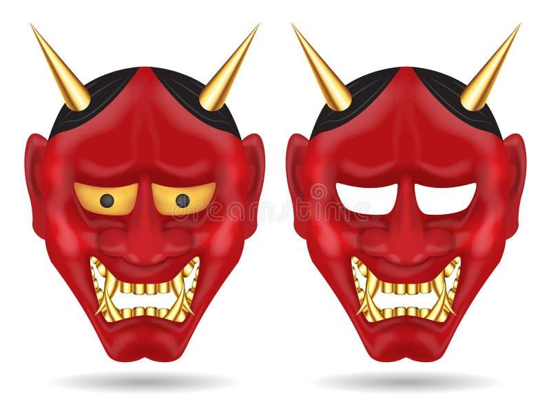 Japonia oni maskowy lub gigantyczny demon maski wektor ilustracji