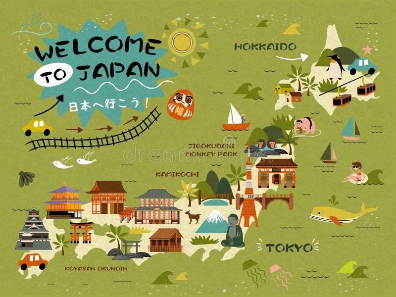 Japonia podróży mapa ilustracji