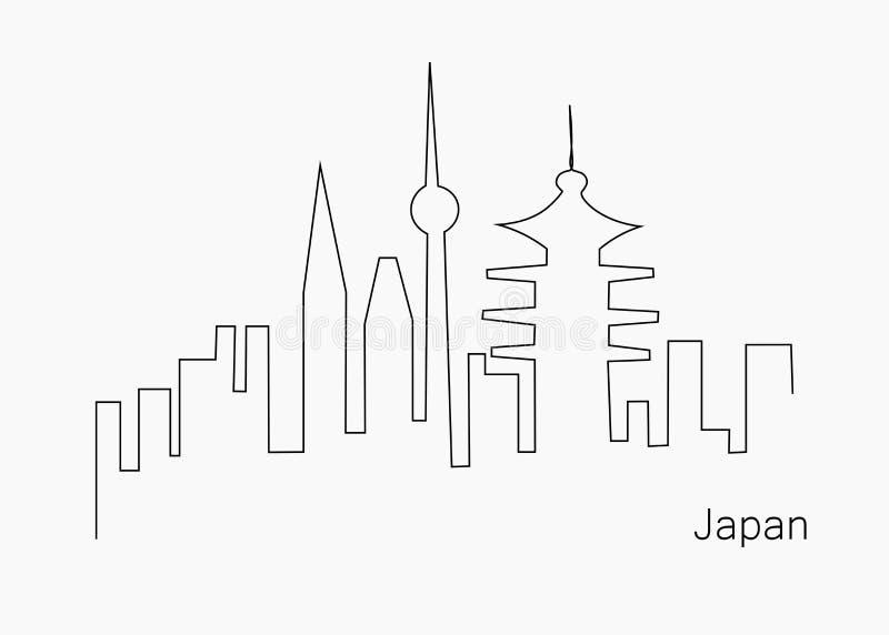 Japonia podróży miasta krajobraz, wektorowa ilustracja royalty ilustracja