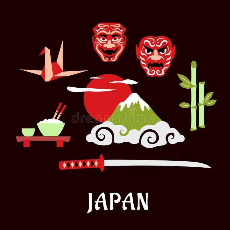 Japonia podróży płaski pojęcie z kulturalnymi symbolami royalty ilustracja