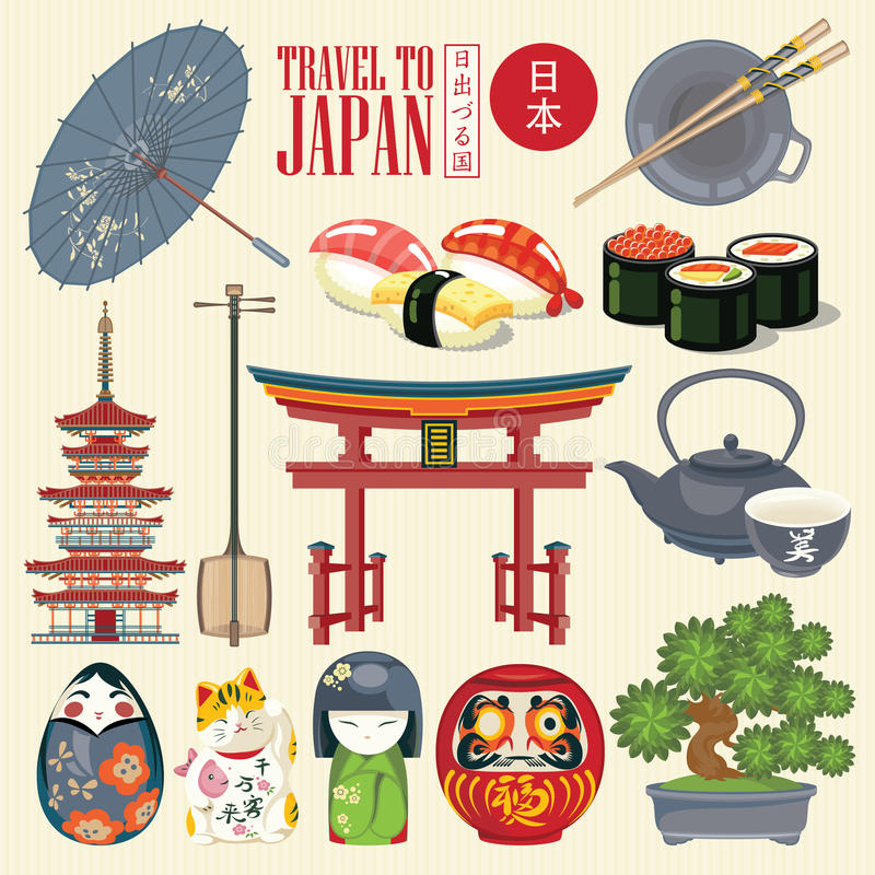 Japonia podróży plakat - podróż Japonia Set azjatykcie ikony royalty ilustracja