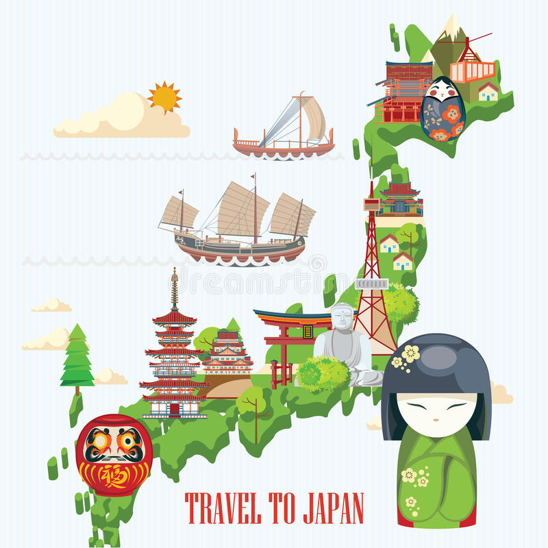 Japonia podróży plakat z mapą - podróżuje Japonia royalty ilustracja