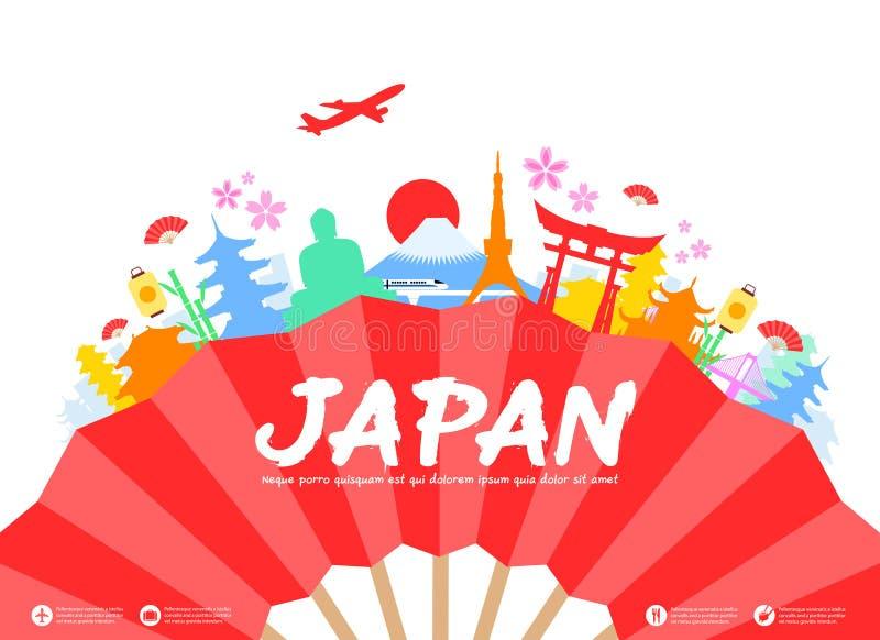 Japonia podróży punkty zwrotni ilustracja wektor