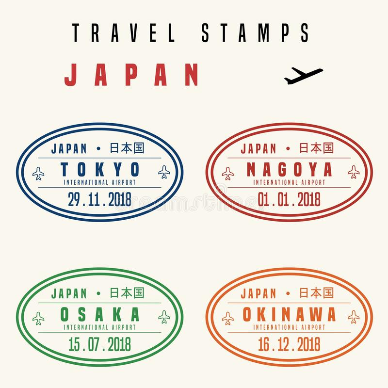 Japonia podróży znaczki ilustracja wektor