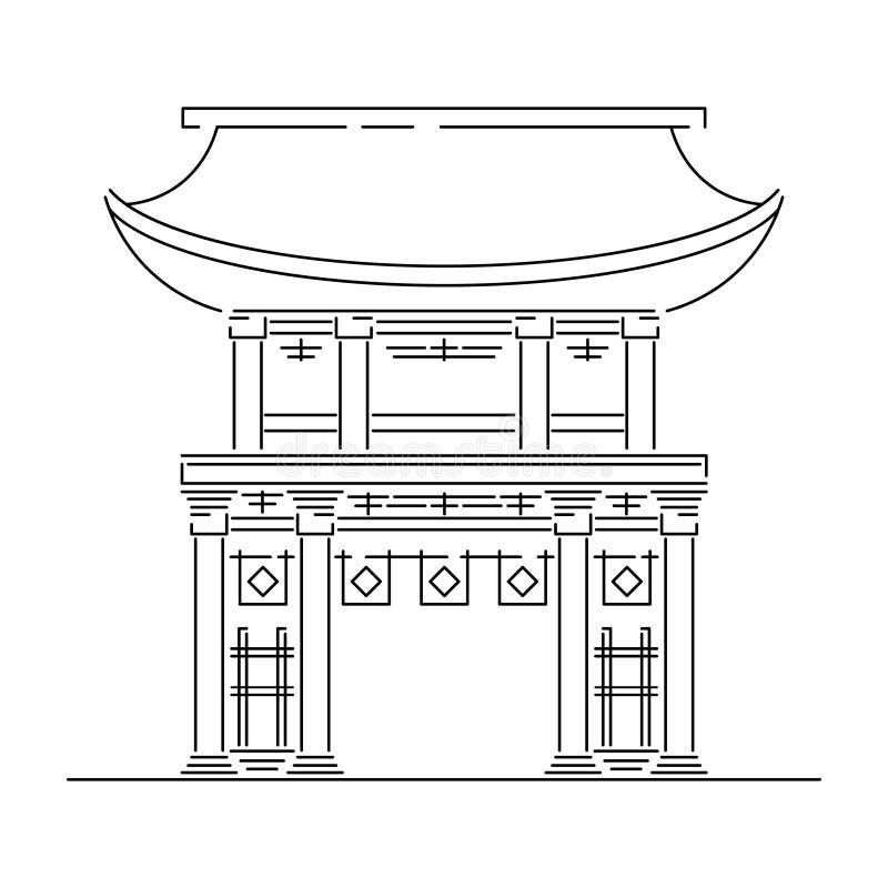 Japonia punkt zwrotny - świątynia, świątynia, kasztel, pagoda, bramy wektorowa ilustracja upraszczał podróży ikonę Chińczyk, azja ilustracji