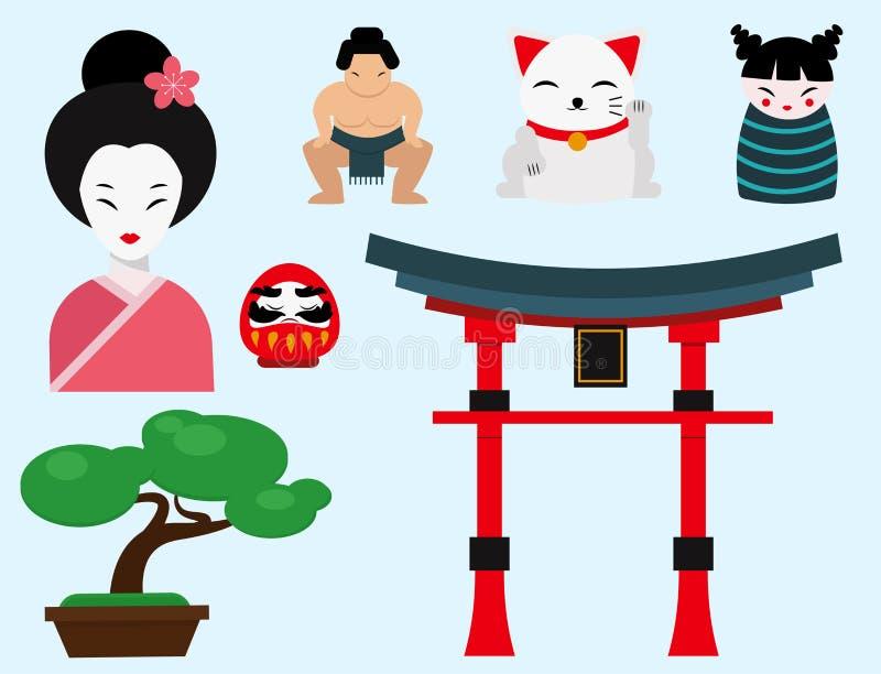 Japonia punktu zwrotnego podróży wektorowych ikon kultury znaka inkasowy projekt ilustracja wektor