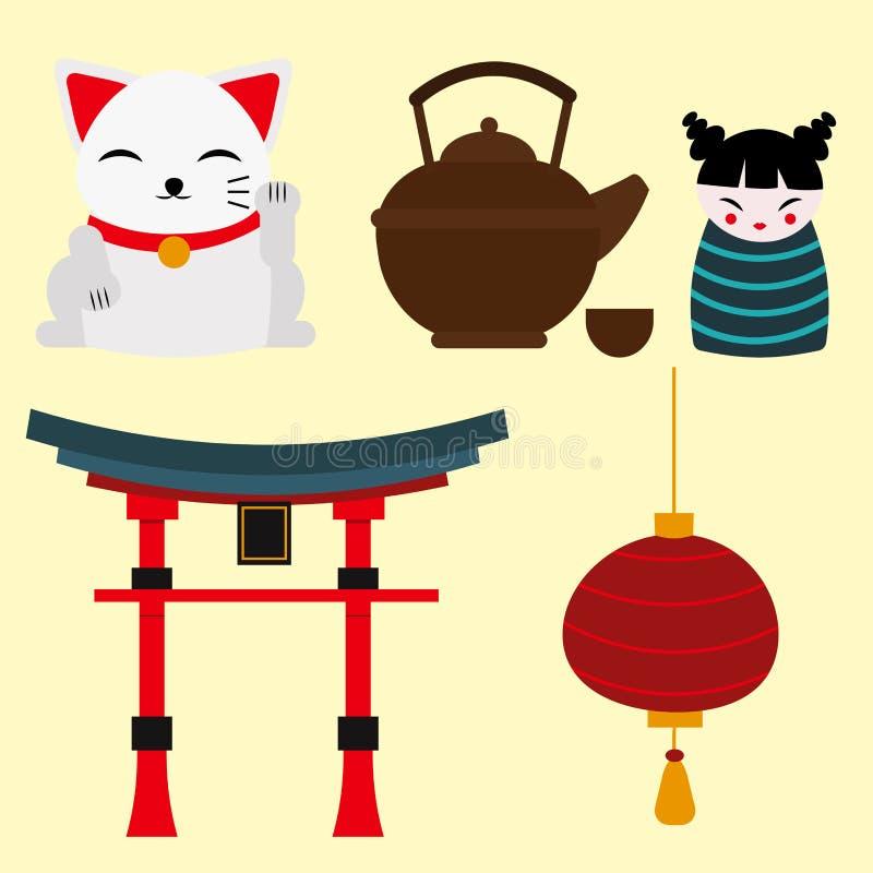 Japonia punktu zwrotnego podróży wektorowych ikon kultury znaka projekta elementów czasu podróży wektoru inkasowa ilustracja royalty ilustracja