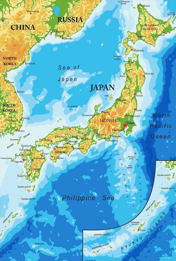 Japonia reliefowa mapa royalty ilustracja