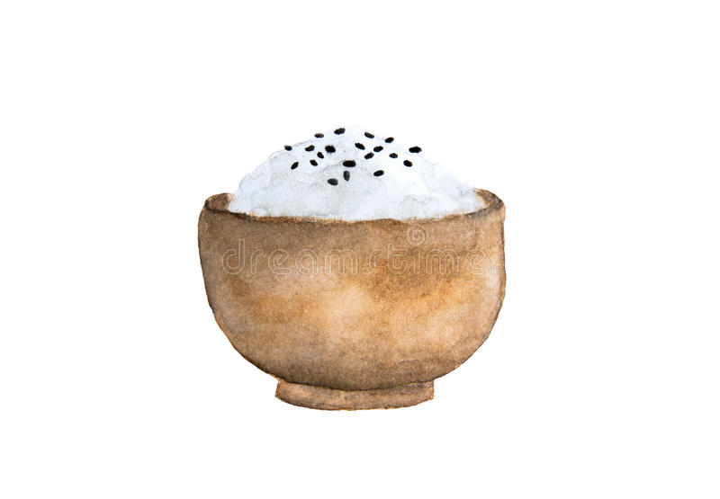 Japonia ryż i czarni sezamowi ziarna w drewnianym pucharze royalty ilustracja