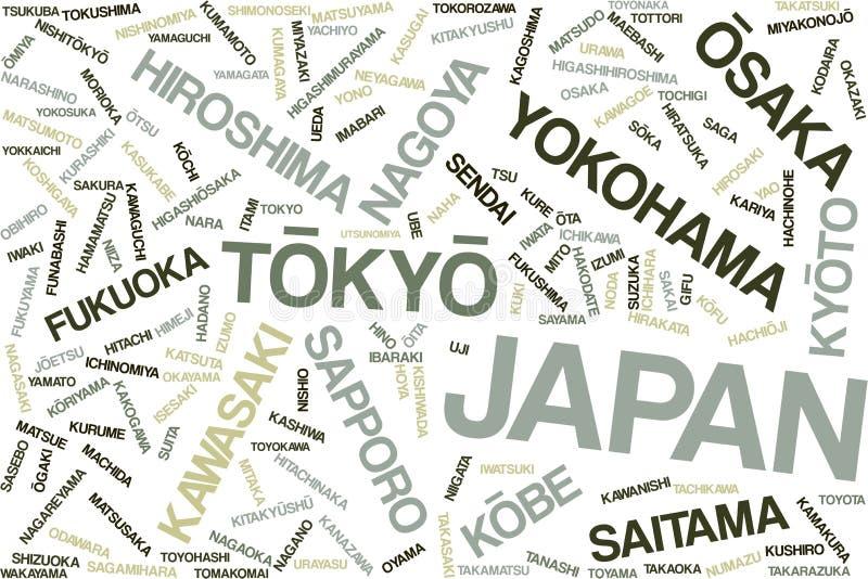 Japonia słowa chmura ilustracja wektor