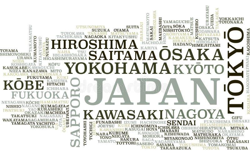 Japonia słowa chmura ilustracji