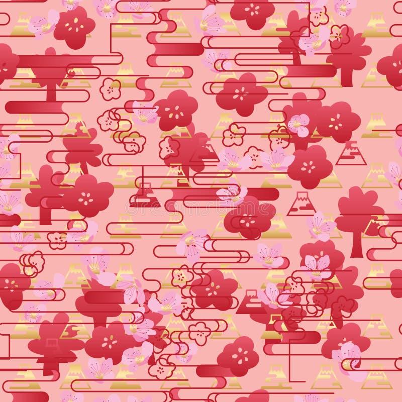 Japonia Sakura czerwonej linii horyzontalny stylowy bezszwowy wzór ilustracji