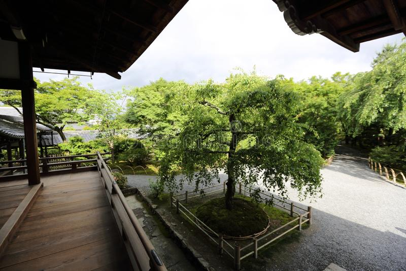 Japonia spaceru świątynny drewniany sposób z japończyka ogródem, Kyoto świątynia Japonia zdjęcie stock