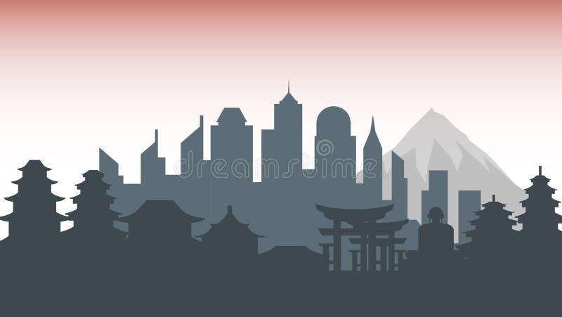 Japonia sylwetki architektury budynków miasta kraju grodzka podróż ilustracja wektor