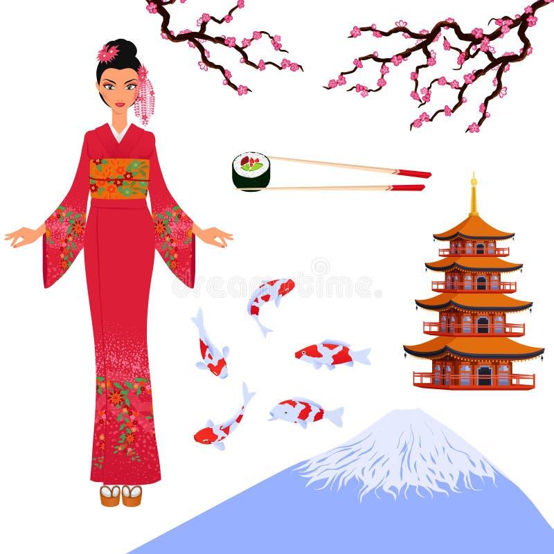 Japonia ustawiający od odosobnionych elementów krajowa Japońska kultura obrazy royalty free