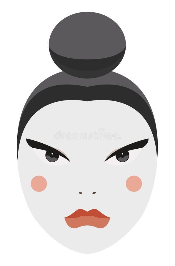 Japonia. Z tradycyjnym makijażem Gejszy wektorowa twarz ilustracji