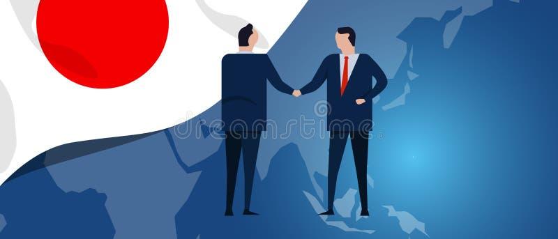 Japonia zawody międzynarodowi partnerstwo Dyplomaci negocjacja Biznesowego związku zgody uścisk dłoni Kraj mapa i flaga royalty ilustracja