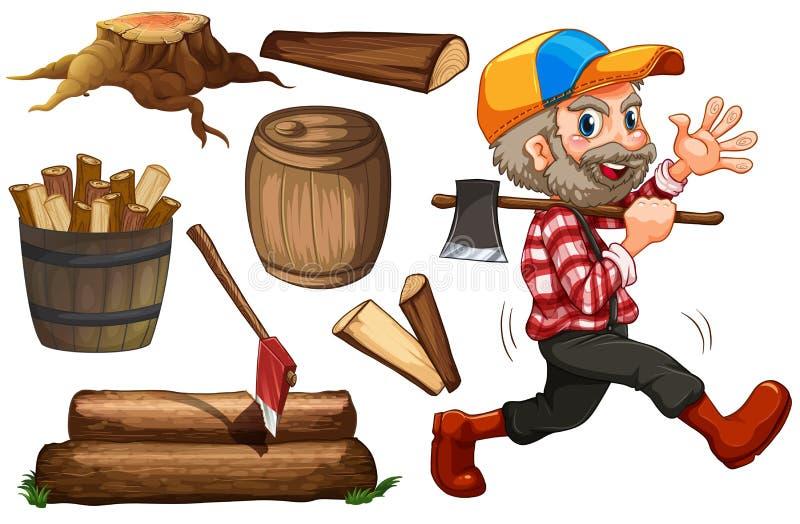 Jaque e madeira da madeira serrada ilustração stock