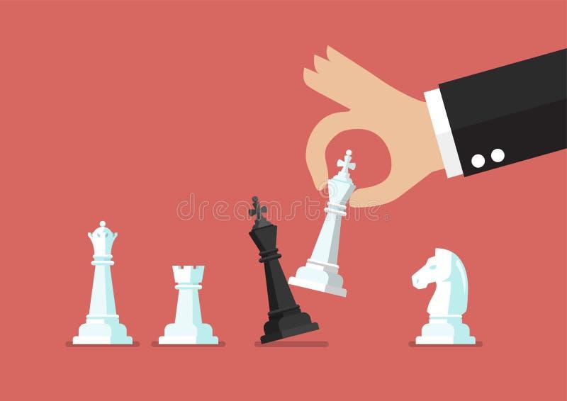 Jaque mate blanco del rey del uso de la mano del hombre de negocios el rey negro stock de ilustración