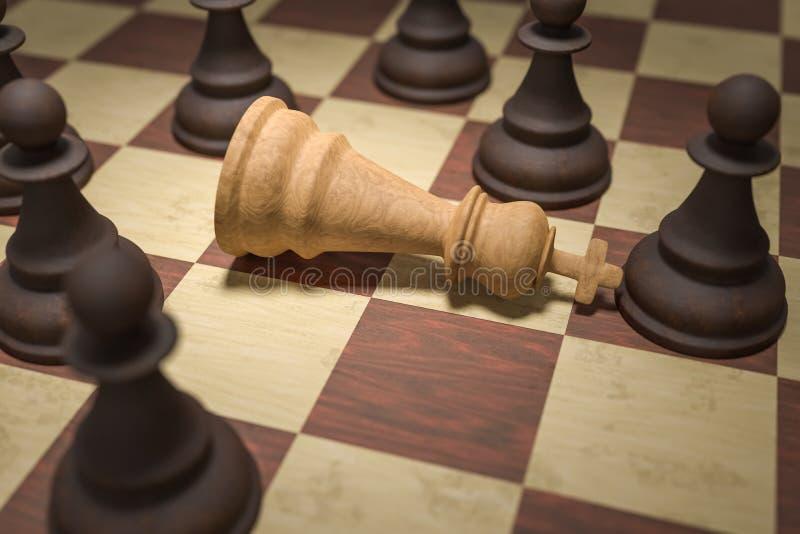 Jaque mate en ajedrez Los empeños negros rodea al rey blanco 3D rindió la ilustración stock de ilustración