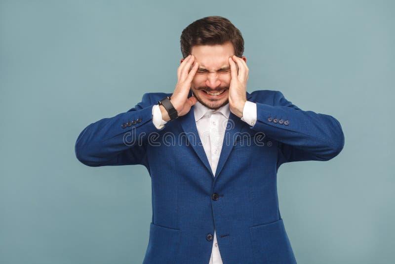 jaqueca Boss tiene dolor del dolor de cabeza foto de archivo libre de regalías