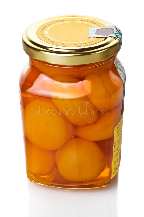 Jar of apricot stock photography