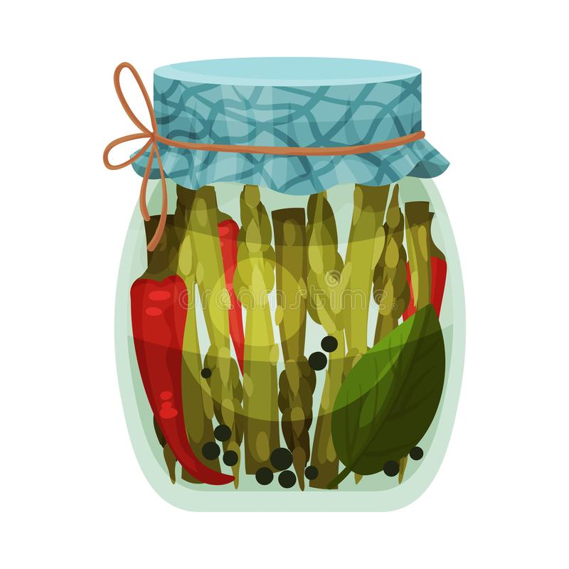 Jar of asparagus and pepper. Vector illustration on white background. Salted asparagus and red hot peppers in a closed jar. Vector illustration on white vector illustration