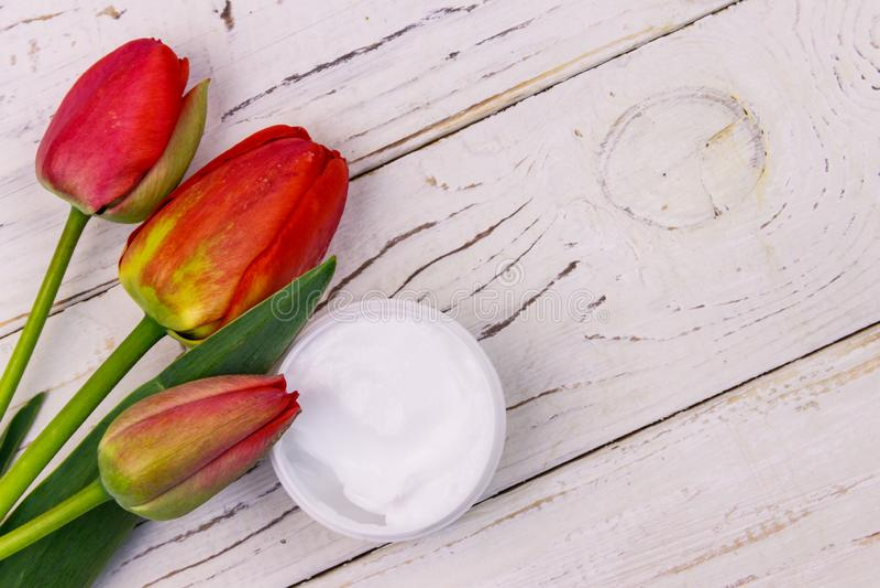 Jar av moisturizer kräm med röda tulpaner på vit träbakgrund Överkänslig vy, kopieringsutrymme royaltyfri foto