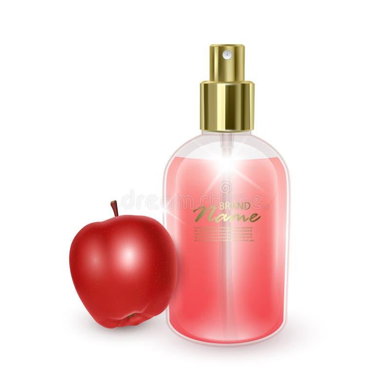 Jar avec parfum rouge sur fond de pomme rouge, jarre réaliste avec distributeur, parfum avec arôme d'Apple, vecteur EPS 10 illust illustration stock