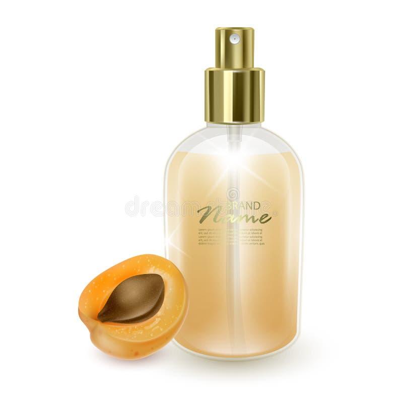 Jar avec parfum sur fond d'abricot orange, jarre réaliste avec distributeur, parfum avec arôme d'abricot, vecteur EPS 10 illustration libre de droits